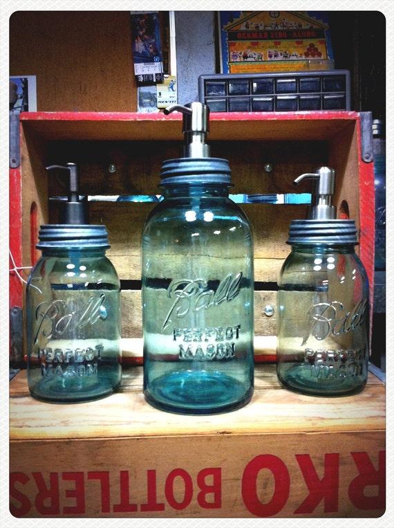 Mason jar soap dispenser, BLUE HALF GALLON