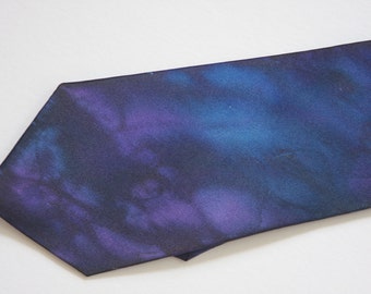 Tie Dyed Silk Neck Tie in Blue, Navy, and Violet, Made To Order