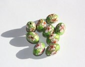 10 Cloisonne enamel beads - Green with flowers