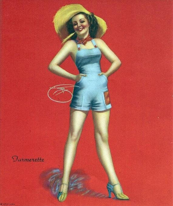 """BILLY DEVORSS Pin Up Girl Vintage Art """"Farmerette"""" Litho Print"""