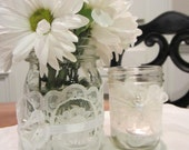 Cream Lace Candle Holder Vase/Jar Wedding Home Decor
