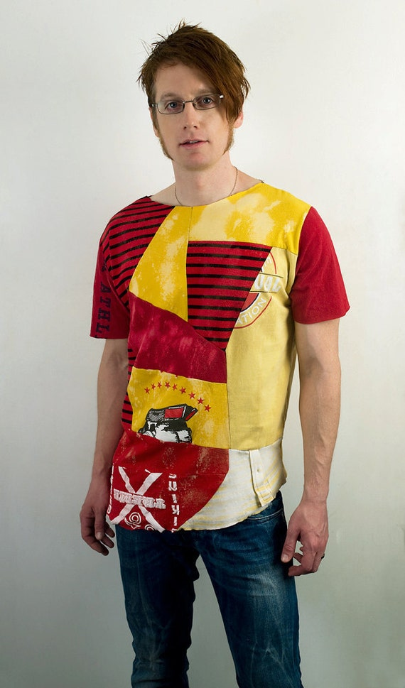Punk geometric patchwork shirt in red and yellow