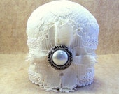 CLEARANCE Needlecraft pincushion miniature shabby chic Victorian vintage ivory lace pin cushion cream braid, vintage style button TAGTtenx