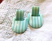 Vintage striped mint earrings