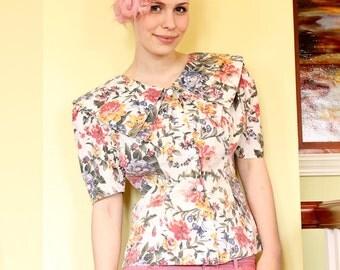 Vintage flowered blouse - cream