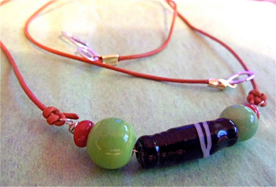 Necklace Navy Blue Lime  Terra Cotta Glass Beads on Leather Cord Casual, Unisex Design Beach Casual Wear Unique