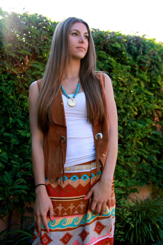 Southwest NAVAJO Print SKIRT Womens Vintage Tribal Design