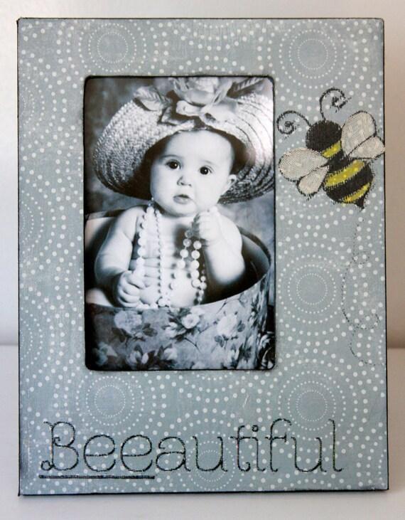 "Bumble Bee Frame ""Beeautiful"" 4x6 Wood Frame Children Nursery Decor"