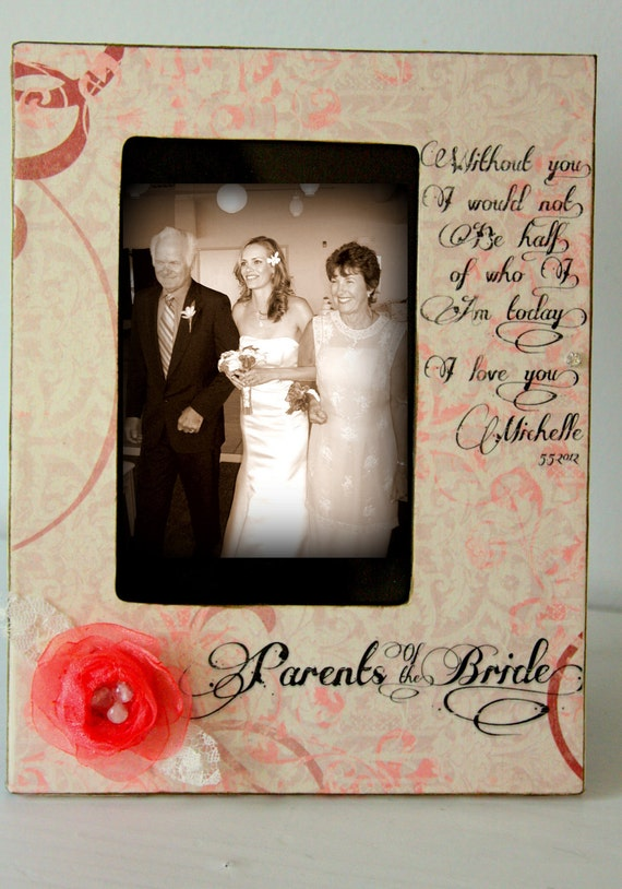 Items Similar To Parents Of The Bride Picture Frame Vintage Gift Keepsake Wedding Party 4x6 On Etsy