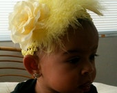 """Yellow crocket baby head band with feathers toped with a yellow faux rose. """"THE POPPY COLLECTION"""""""