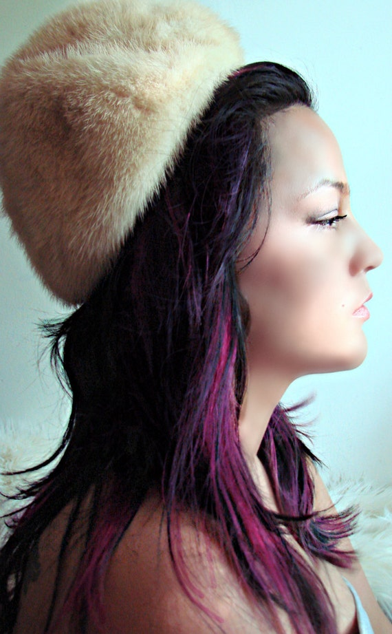 RESERVED 1960s Vintage Fashion / White Mink Fur Hat / Designer Eatons Fur Salon