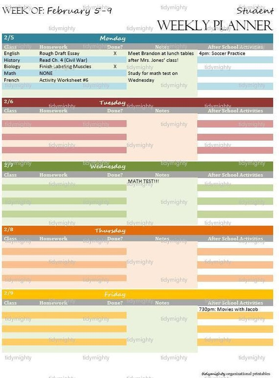 Student Weekly Planner / Organizer Back to School by ...