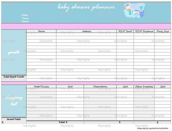 baby shower planner organizer printable pdf instant download