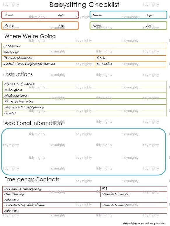 babysitting checklist    child care notes printable pdf