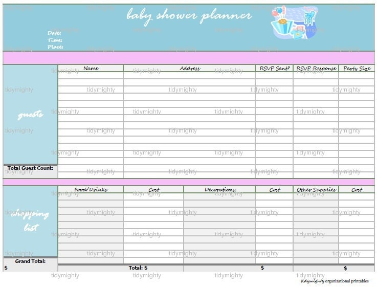 Baby Shower Budget Worksheet ~ Baby shower planner organizer printable pdf by tidymighty