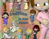 Bedtime Clip Art - Digital Clipart for Scrapbooking, Birthday Card Making and More 12 Pajama Clad Images