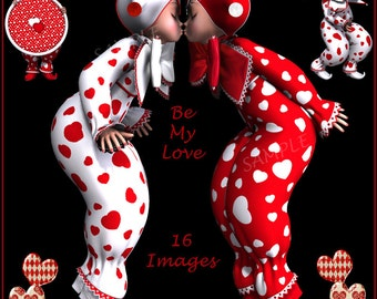 Digital Clip Art Be My Love - 15 Romantic Images of Pixie Clowns or Harlequins - Scrapbooking, Valentine Card Making etc Instant Download