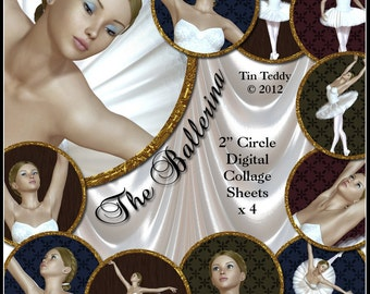 Ballerina Digital Collage Sheets - 2 Inch Circles Cupcake Toppers or Tags with Ballet Dancer Pictures Ballerina Circles Dancer Tag