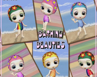 Digital Collage Sheet - Bathing Beauties Tags or Toppers - 24 For Scrapbooking, Card Making, ATCs etc - Instant Download