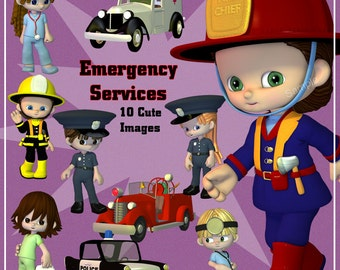 Emergency Services Digital Clip Art - 10 Clipart  Images of Police, Fire & Medical Workers for Scrapbooking, Card making etc