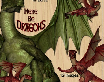 Dragons Digital Clip Art for Scrapbooking Birthday Card Making Decoupage & More 12 magical images
