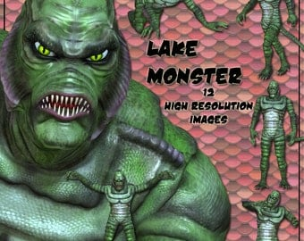 Lake Monster Digital Clip Art -12 Reptilian Images for your Scrapbooking, Card Making - Instant Download