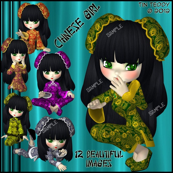 China Girl Digital Clip Art - Clipart for Scrapbooking, Birthday Card Making & More  12 Images Instant Download