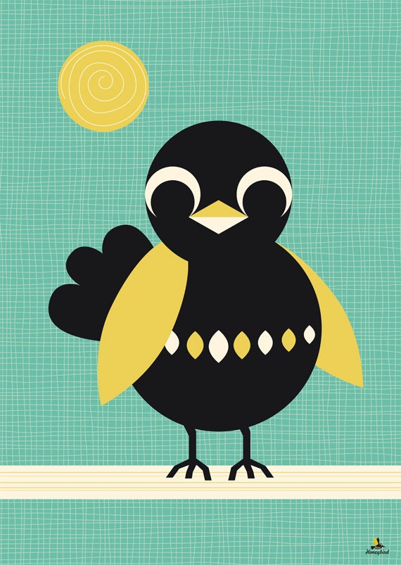Poster sunbathing Blackbird