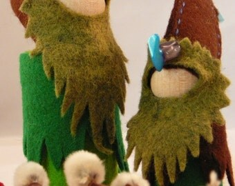 Large Woodland Gnome, Waldorf Inspired Handmade, Wool Felt Peg Doll, Nature Table Gnome One of a Kind
