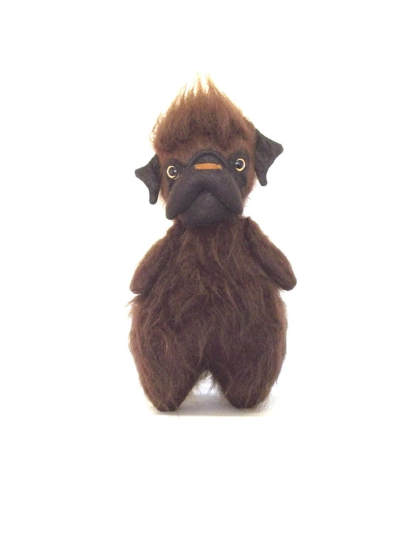 Chewi-Mon Cher Pug, pug doll (Hairy, furry, brown, dark brown, yellow, amber)