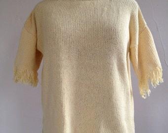 VINTAGE Pale Yellow Short Sleeved FRINGE SWEATER