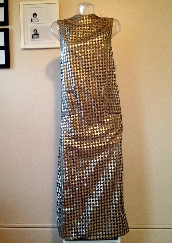 VINTAGE 1960s Exquisite Metallic BERGDORF Goodman Maxi DRESS