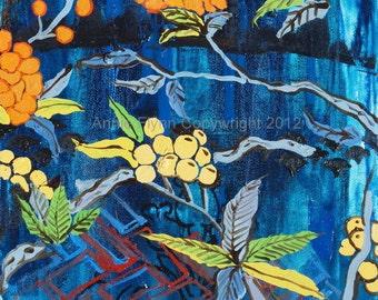 "Archival Print of Original Oil Painting ""Orange Blossom on Blue"""