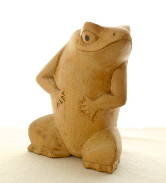 Vintage Wood Frog Figurine Rustic Hand Carved