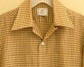 Vintage 50s 60s Men's Short Sleeve Shirt  --  Cream / Rust / Brown Plaid  --  Size M / 44-45