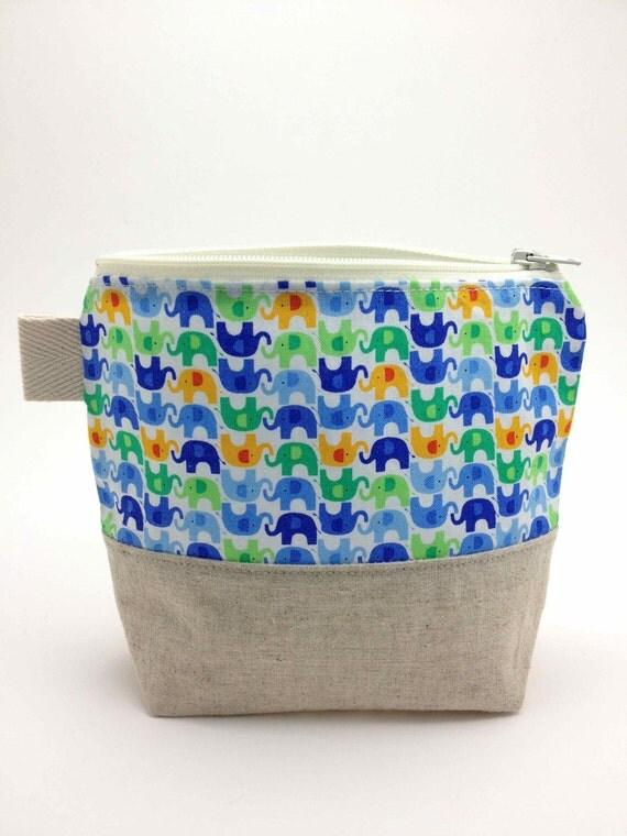 Reusable Snack Bag - Mini Elephants Blue