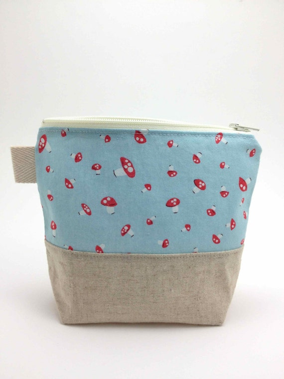 Reusable Snack Bag - Teeny Mushrooms Blue
