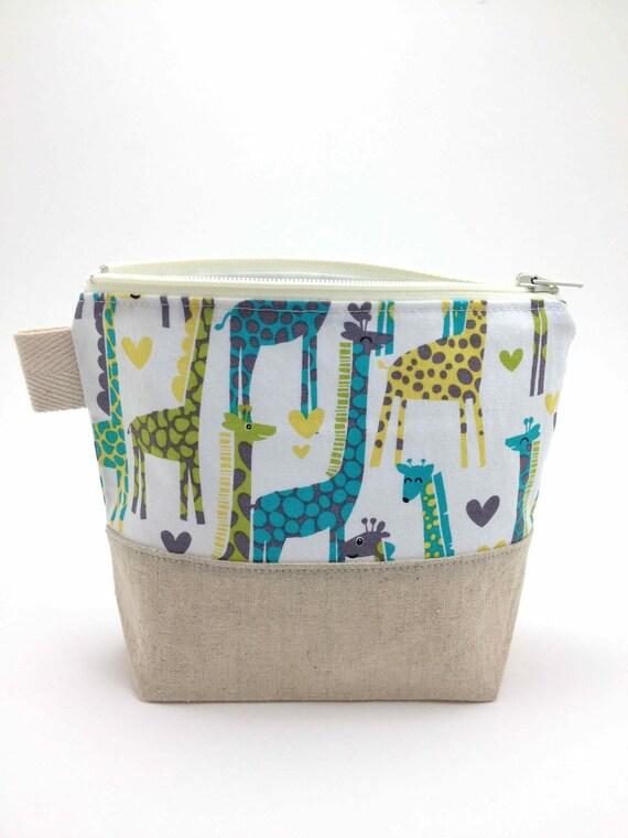 Reusable Snack Bag - Giraffe Love in Lagoon