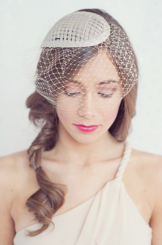 Simple tear drop hat with attached birdcage blusher veil