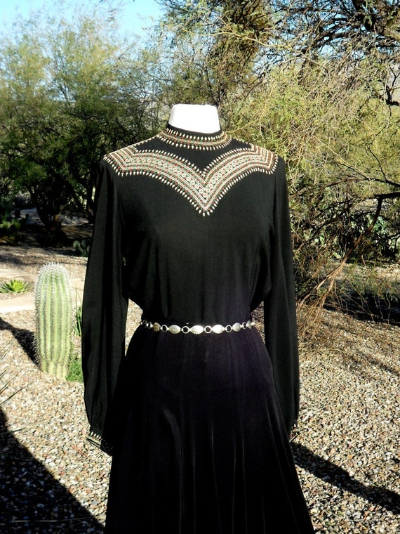 ON SALE Vintage 1940's Black Crepe Embroidered Blouse with Balloon Sleeves - Size Medium to Large