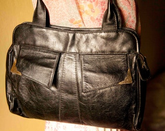 Vintage Leather bag.Black bag. Handbag from Tuscany.