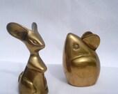 Mice Figurines Paperweights - Mid Century Brass Mice Office Decor