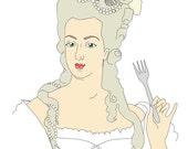 """Blank Card - Marie Antoinette """"Let Them Eat Birthday Cake"""""""