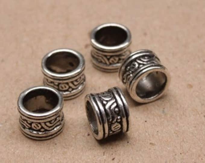 10 Tibetan Silver Dreadlock Beads 7mm Hole (9/32 Inch) Dread Hair Beads