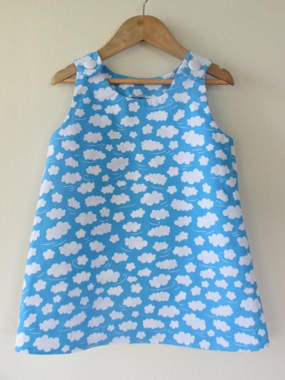 Children clothing - Girls dress blue cloud new dress...Sizes 6months 1 2 3 4 5 ...Kids toddlers girls children clothing girlsandboys