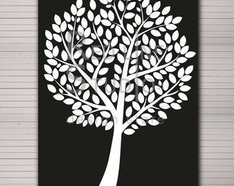 """DIY printable wedding alternative guest book 120 large leaves. Elegant black and white in 42 x 59,4 cm (A2 standard)  (18""""x24"""")size."""