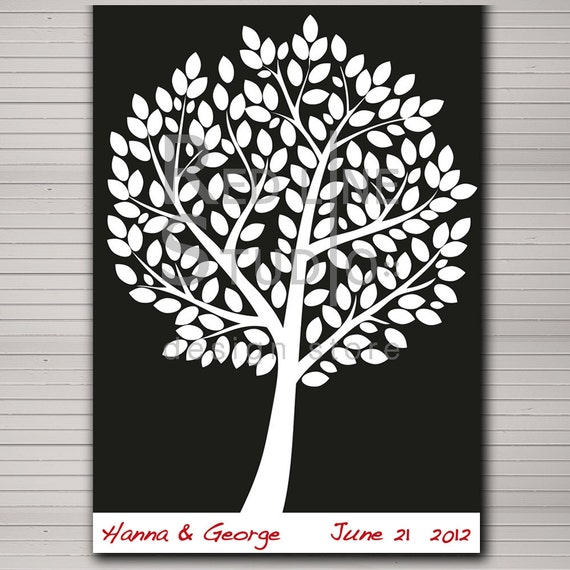 "DIY printable wedding alternative guest book 120 large leaves. Elegant black and white in 42 x 59,4 cm (A2 standard)  (18""x24"")size."