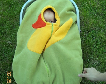 Green Duck Baby Car Seat Cover, Infant Car Seat Cover... on SMOOTH green fleece