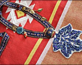 Boho Necklace - Repurposed - Avant Garde - Upcycled - Retro - Hippie Chic - Shabby Chic -  Statement - Hand Beaded - Blue