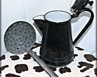 Vintage Black Enamelware Coffee Pot & Enamel Strainer Ladle Bundle - Shabby Chic - Home Decor - Vintage - Kitchen Decor